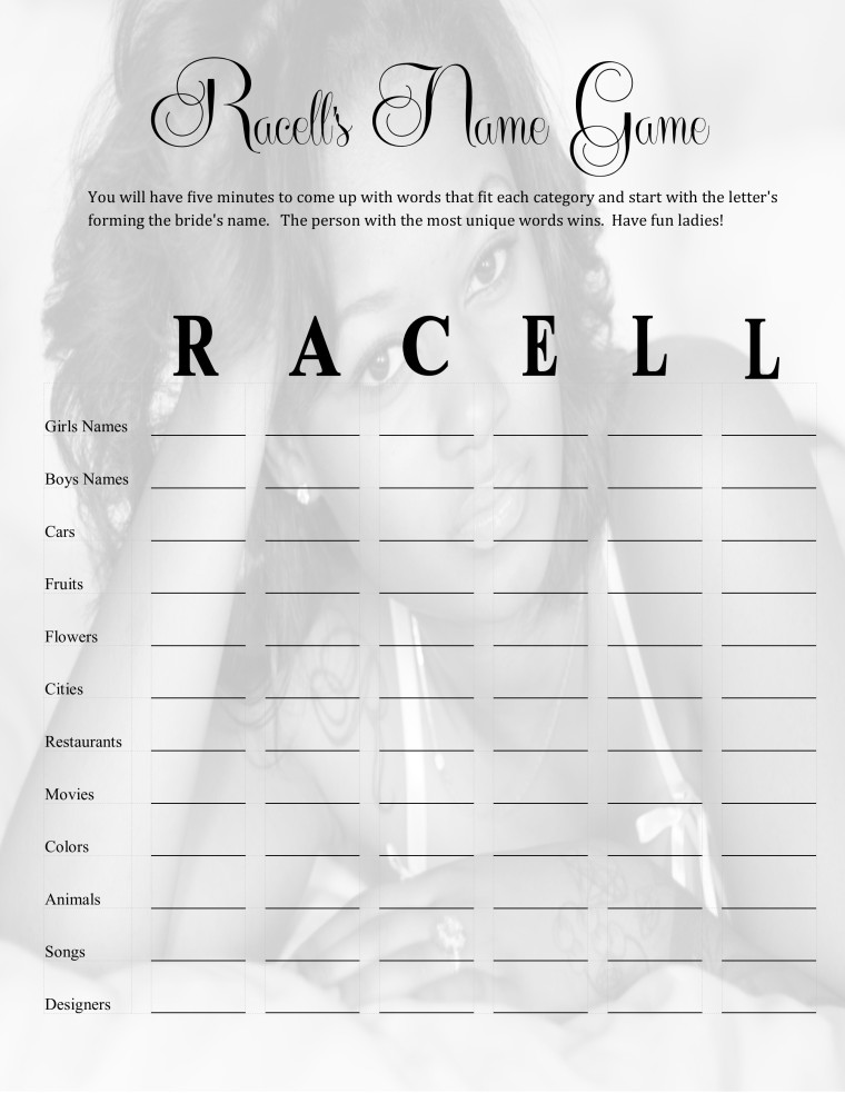 Racell's Name Game