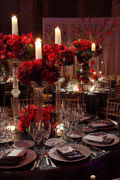 red preston bailey winter-wedding-rose-candle-centerpieces-tantawan-bloom-fred-marcus